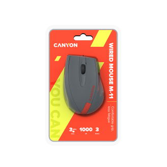 Canyon Wired Optical Mouse Gray-Red - CNE-CMS11DG
